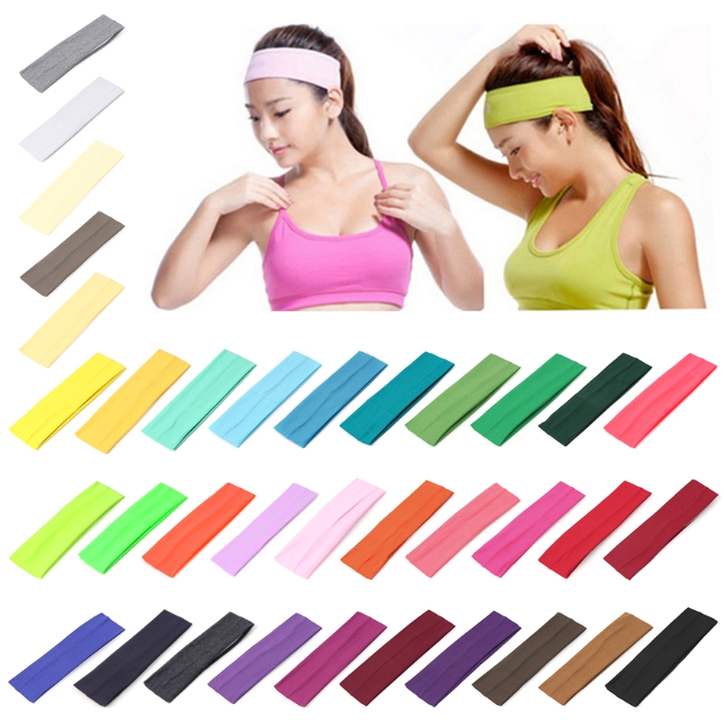 35 Colors Optional Sport Hair Band Elastic Wide Blend Cotton Yoga Exercise Women Sweatband Headband  Hot Selling