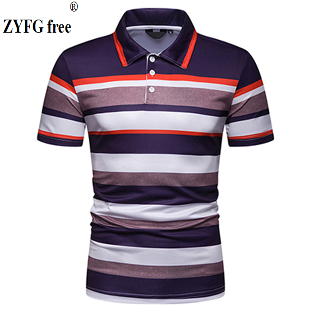 ZYFG free men   Polo   short-sleeved striped   polo   shirt gentleman home breathable   polo   shirt tide fashion maletops