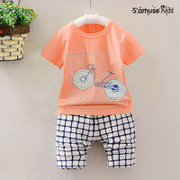 Bicycle Print Tee Kids Toddler Clothes Children Short T Shirt Pants Baby Boy Clothes Summer 2017