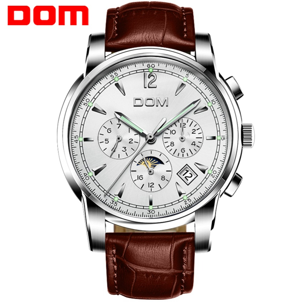 DOM New Mechanical Men Watch Moon Phase Top Brand Luxury Stylish Waterproof Calendar Week Sport Automatic Relogio Masculino M-75 casima 2018 new relogio masculino leather strap men s watch men gold waterproof 5bar watches top brand luxury calendar week