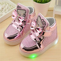 2017 Children girl kid hello kitty shoes Pu bling shoes with LED lighted for Child girl casual shoes 21-30 for 1-6year