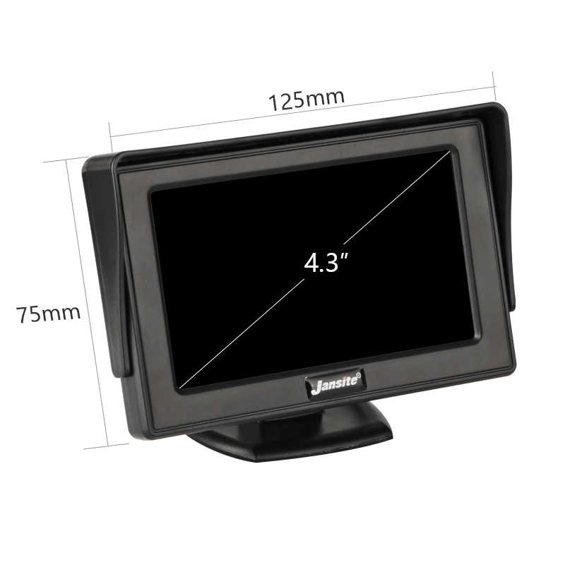 "Jansite 4.3"" Car monitor TFT LCD Car Rear View Monitor Parking Rearview System for Backup Reverse Camera Support VCD DVD Auto TV"