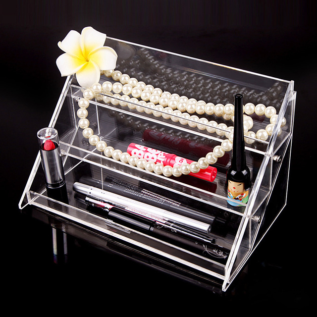 High-grade 3 Layers Make Up Cosmetic Clear Nail Polish Organizer Storage Box Transparent Jelwery Display Stand Holder FE#8