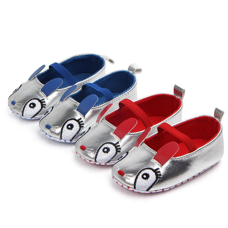 Infant Toddler Crib Baby Girls Mary Jane Silver Shoes Newborn Rabbit Ear Solid First Walker Soft Sole Princess Ballet Shoes