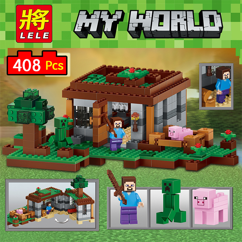 My World Series Eductional Technic Model Building Blocks Kit Castle Children Toys Compatible LegoINGLYS Minecrafter 408pcs lele 2017 new technic compatible legoinglys minecrafter the nether railway building blocks my world educational toys 402 pcs