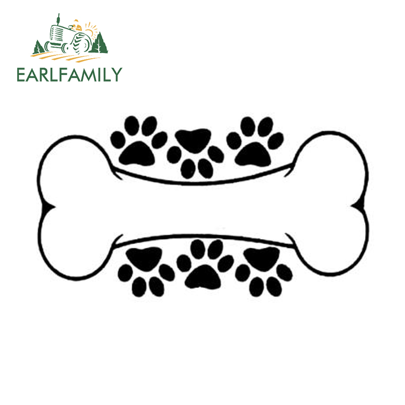 EARLFAMILY 15cm <font><b>x</b></font> 8cm Interesting Dog Paw Print Dog Bone Decal Car Sticker Vinyl Graphic for Window Bumper Laptop Decoration image