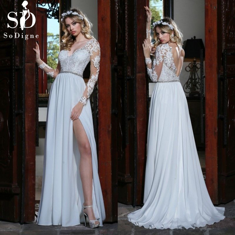 SoDigne Sexy Backless Beach Dress Lace Appliques Bride Dress 2018 Cap Sleeves Slit Side White Lvory