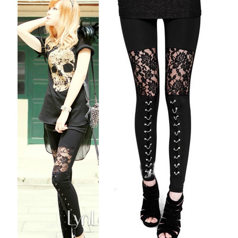 2017 autumn NEW punk gothic rock legging sexy lace splice vestidos femininos american apparel Leggings free shipping