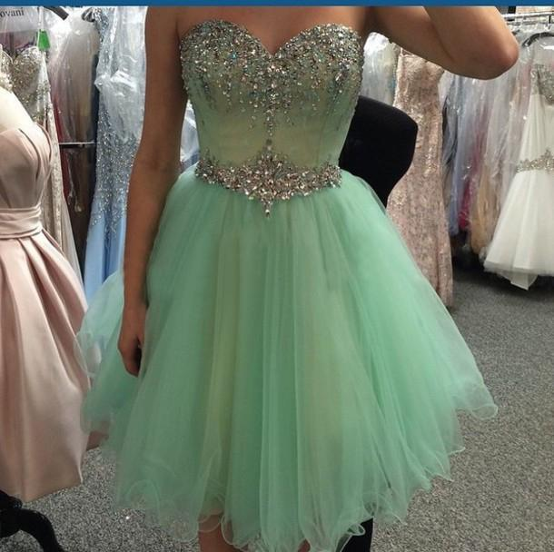 169bc0bb17dca US $130.0 |Mint Green Short Prom Dresses 2017 Vestidos De Fiesta Cortos  Sweetheart Crystal Beaded Tulle Homecoming Party Dresses For Teens-in Prom  ...