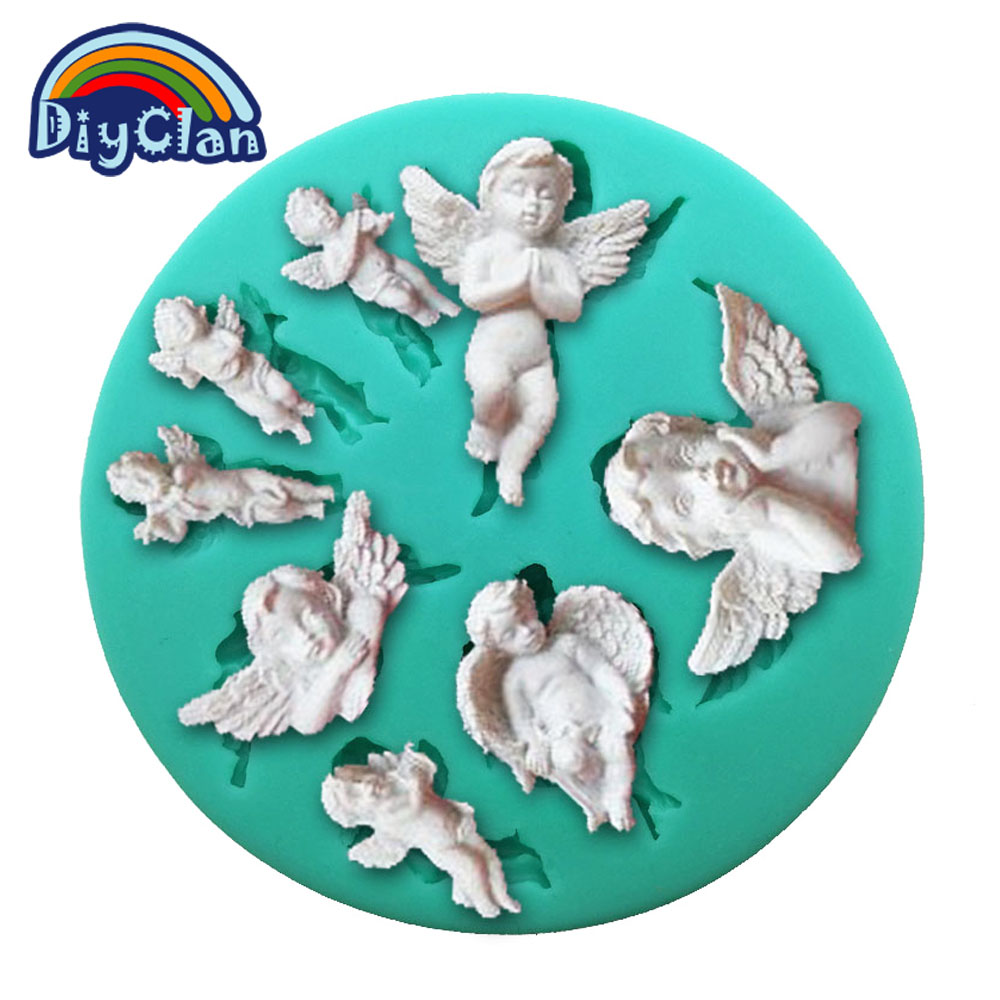 New angel baby DIY silicone fondant cake molds chocolate cupcake ...