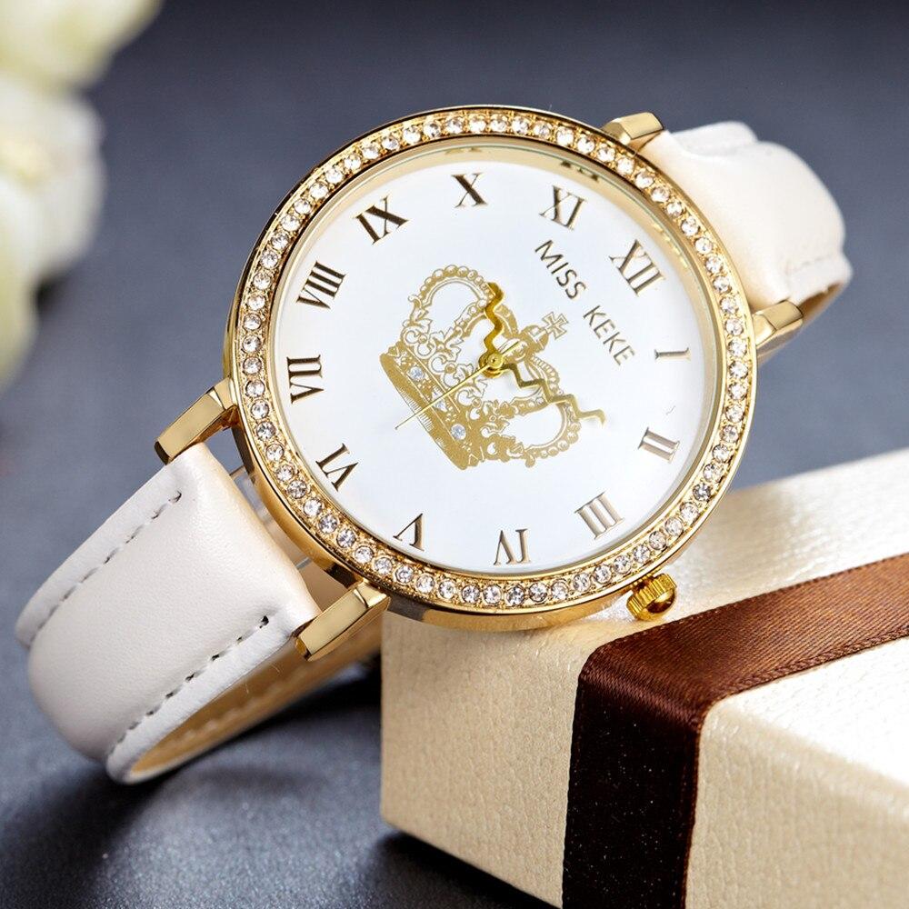 Μις Keke 2019 Luxury Geneva Rhinestone χρυσό ρολόι Crown ρολόγια μόδας casual Κυρίες γυναικείο φόρεμα χαλαζία ρολόγια χειρός 1311