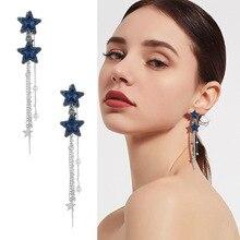 Korean Elegant Long Crystal Pearl Chain Tassel Earrings for Women Dark Blue Earrings Drop Earrings Dangle Earring Party Jewelry fake pearl chain tassel drop earrings