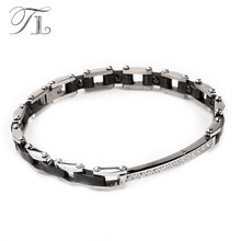 TL Stainless Steel Silver Ceramic Bangles Bracelets Energy Bracelet Black&White Ceramic Bracelet Inlaid Zircon Hologram Jewelry