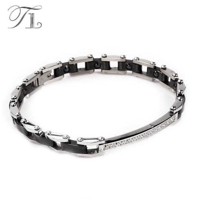 Tl Stainless Steel Silver Ceramic Bangles Bracelets Energy Bracelet Black White Inlaid Zircon Hologram Jewelry