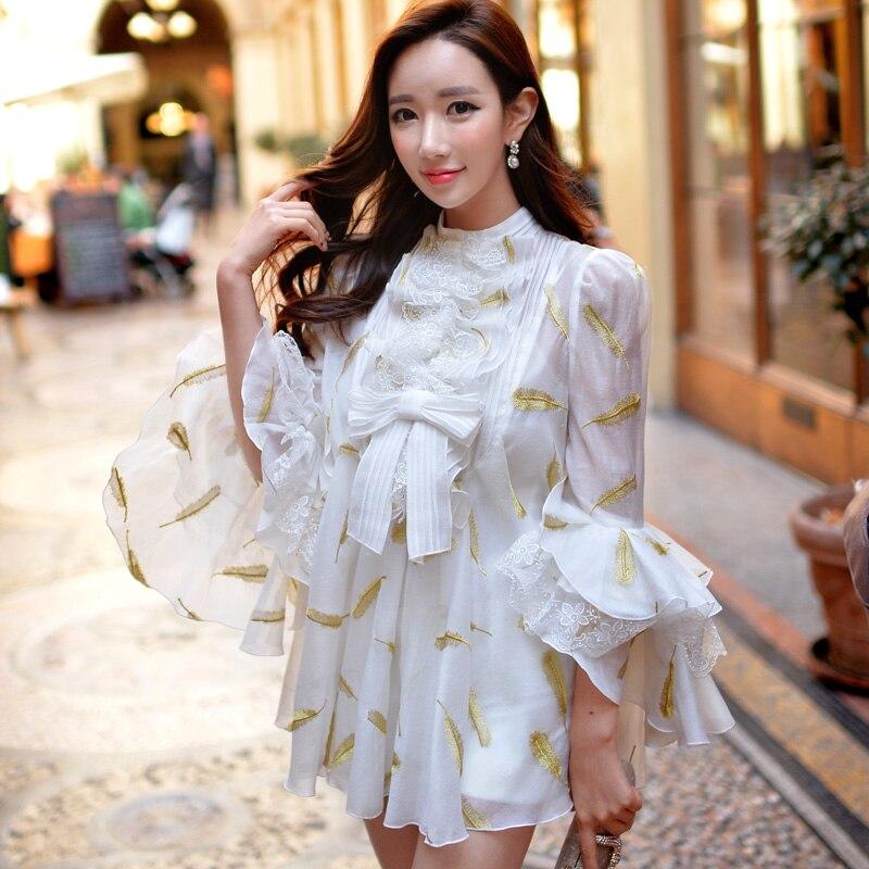 Оригинал 2018 бренд blusas весна осень Повседневная рюшами рукав «фонарик» творческий печатных шифоновая блузка женская обувь оптом