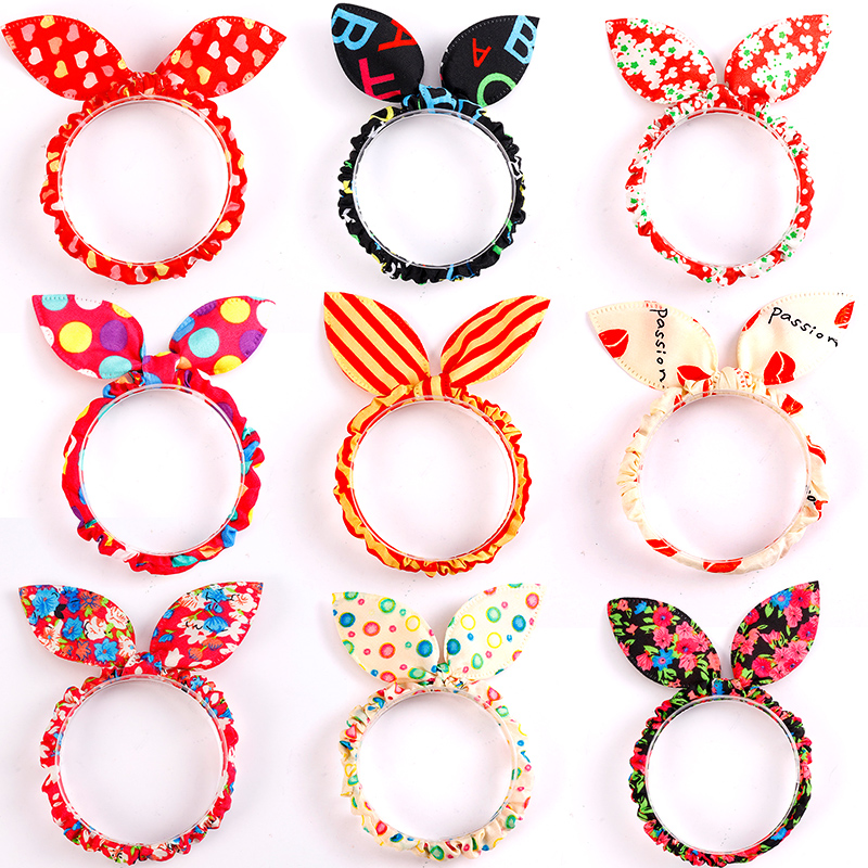 10PCS/Lot Mix Styles Dot Flower Leopard Trip Rabbit Ears Hair Rope Girls Cute Ponytail Holder Scrunchy Kids Hair Tie Accessories