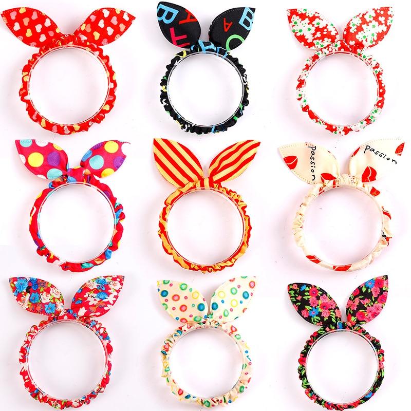 10PCS/Lot Mix Styles Dot Flower Leopard Trip Rabbit Ears Hair Rope Girls Cute Ponytail Holder Scrunchy Kids Hair Tie Accessories(China)