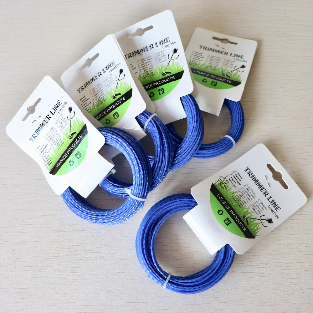 5pcs Grass Trimmer Line 1.92mm Diameter 15M Twist Square/spiral For Brush Cutter Power Nylon Line Grass Cutting