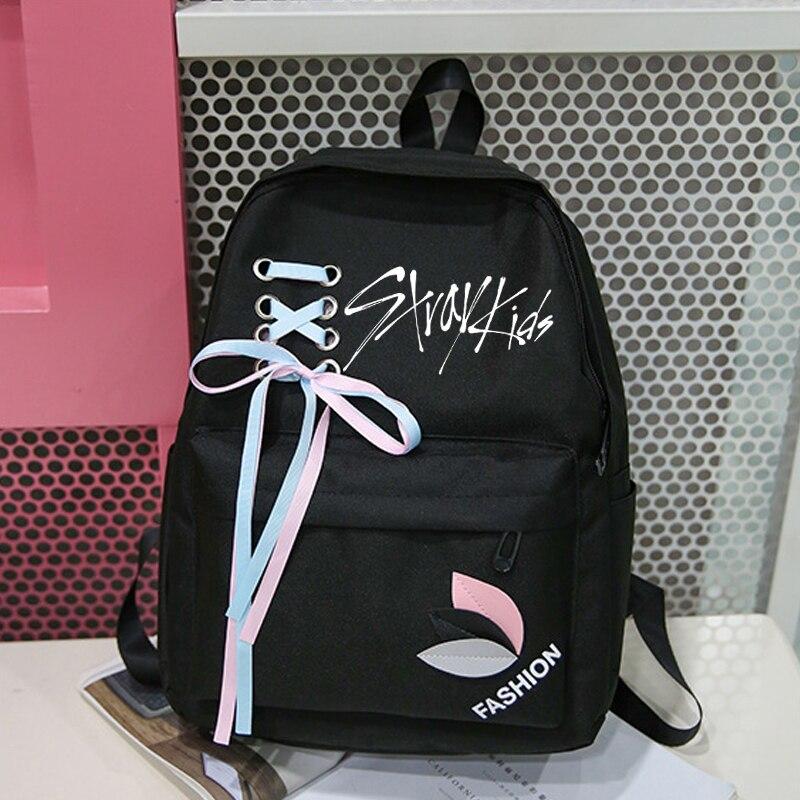 New Arrival Exo Got7 Canvas Backpack Korean Women Harajuku Stray Kids Nct 127 Monsta X Twice Rucksacks Backpacks Sac A Dos Femme