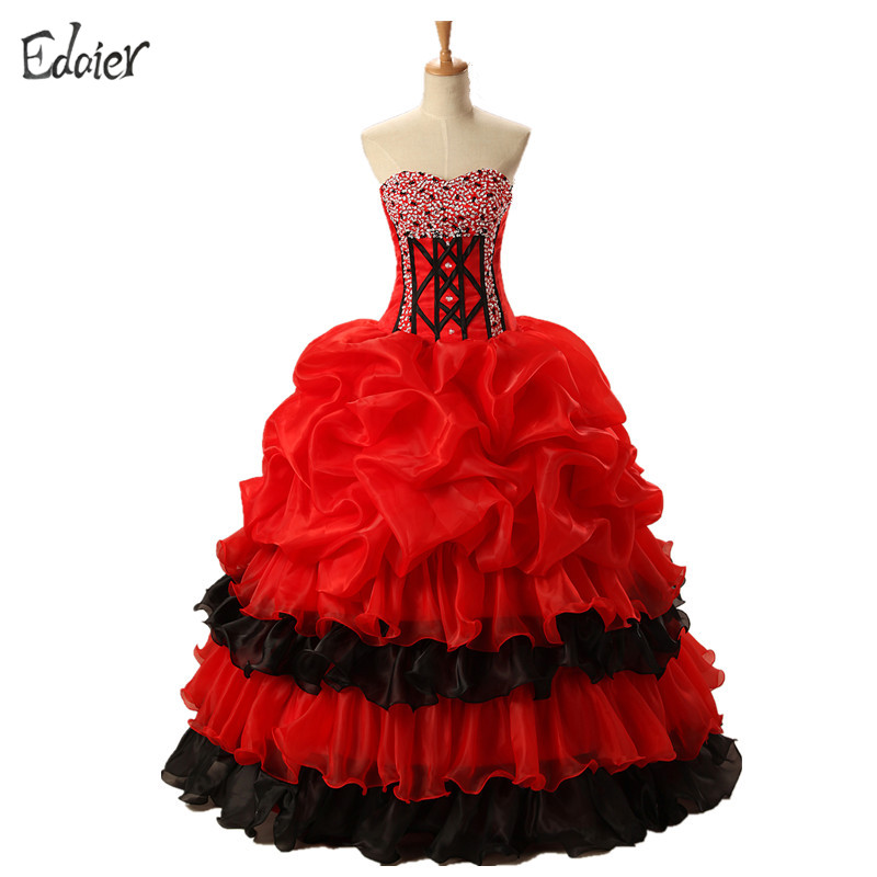 Red Black Quinceanera Dresses Prom 2017 Sweetheart Beaded Ruffles Vestidos De 15 Anos Sweet 16 Ball Gown Debutante Gowns
