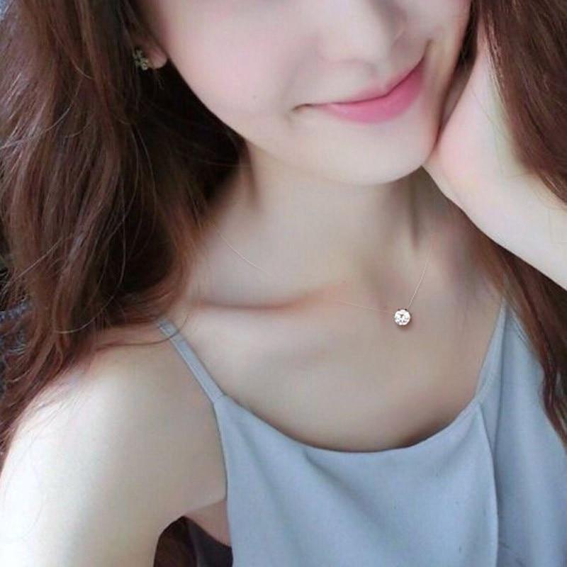 Tiny Square Choker Necklace For Women Fish Line Smalll CZ Geometric Necklace Pendant On Neck Bohemian Zircon Necklace Jewelry