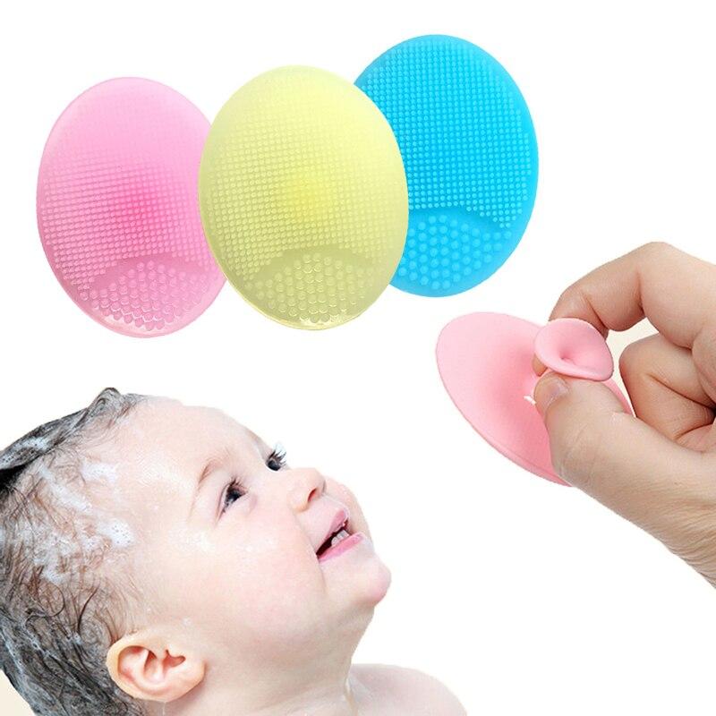 Disponible bebé super suave lavado de masaje almohadilla de silicona cepillo champú-5164