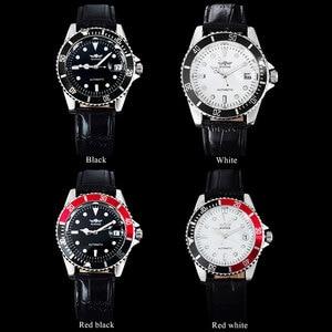 Image 4 - 2018 זוכה פופולרי מותג גברים יוקרה אוטומטית עצמי רוח שעונים creative מקרה שחור חיוג זכר רצועת עור Relogio masculino