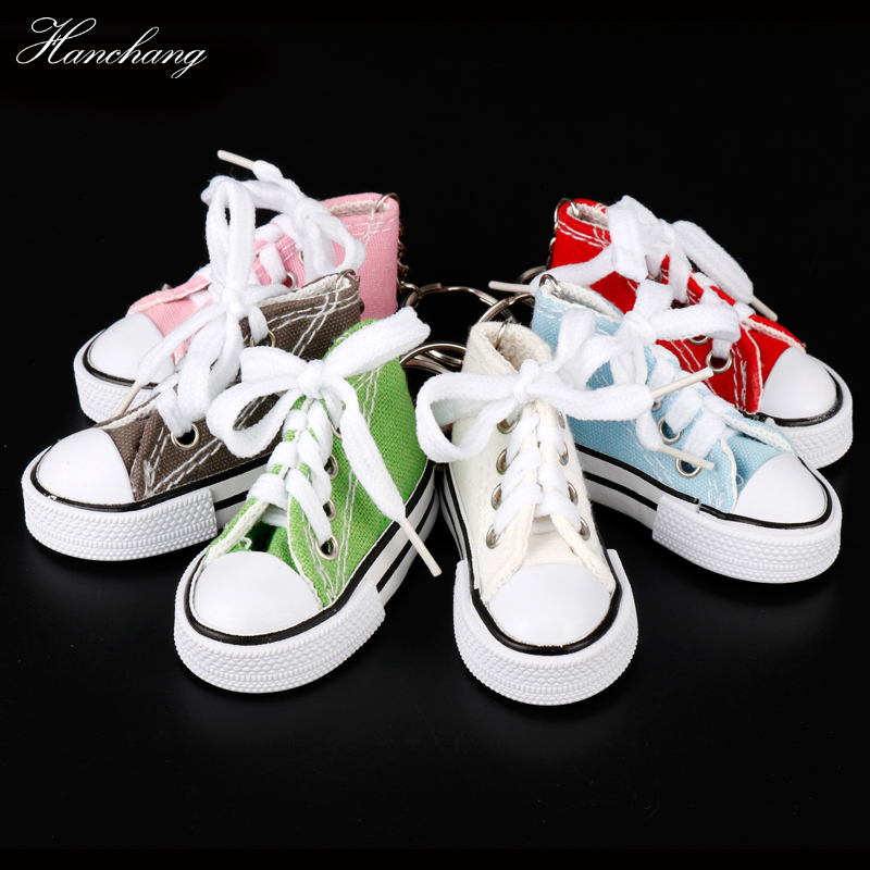 HANCHANG Mini Top Canva Sneaker Tennis Shoe Keychain Bag Charm Woman Men Kid Keyring Gift Sneaker Key Holder Pendant Accessories