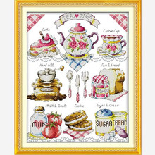 Joy sunday cartoon style Tea time big Kit embroidery cross stitch kit Counted for 14ct and 11ct home decorations