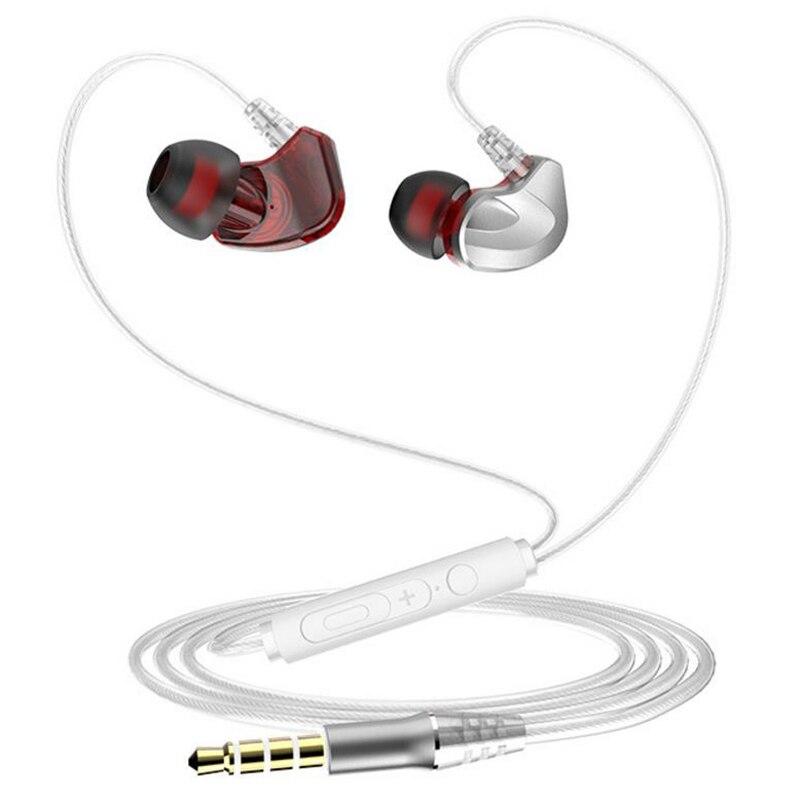 Earphone in ear dual moving coils headset 3.5mm audio jack plug HiFi stereo handsfree