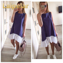 цена Laipelar Summer Sleeveless Casual Dresses 2018 Women Loose Patchwork Sleeveless Ruffles O-Neck Mini Beach Dress Plus Size