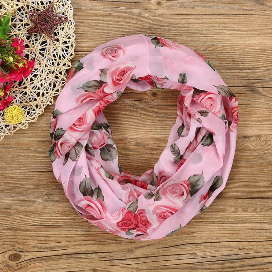 Fashion Women Rose Flower Soft Double Loop   Scarf     Wrap   Flawless Neckerchief Elastic Foulards Casual   Scarves   Poncho Stole   Wraps