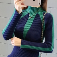2018 Autumn And Winter Short Section Turtleneck Women Spell Color Slim Long Sleeve Tight Knit Sweater