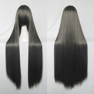 Cosplay wig dark grey 100cm long women's synthetic hair ,free shipping