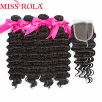 Miss Rola Hair Pre Colored Indian Deep Wave 4 Bundles With Closure 100% Human Hair Extension Non Remy Hair Natural Black Weave