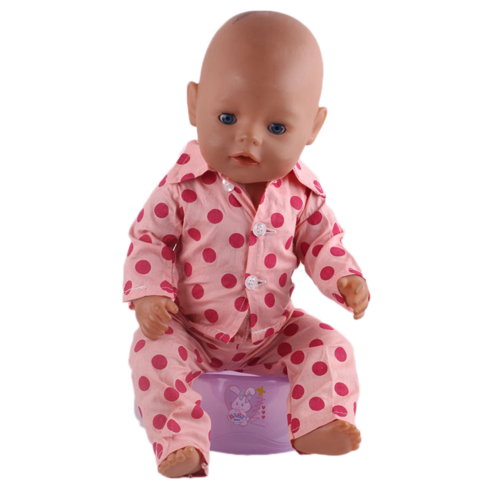 fashionable red pajamas dots dress is suitable for Zapfs 43cm dolls dress the best Christmas gift b70