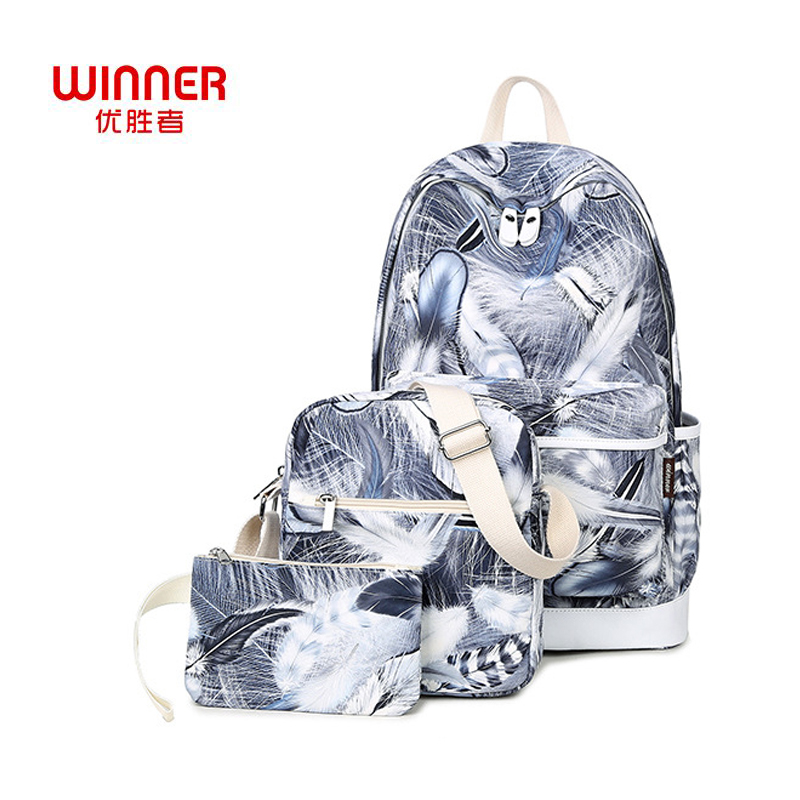 WINNER Fashion Women s backpack 3Pcs Sets Korean Feather Printing Backpacks female School student Bags for