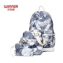 Победитель женские Модные рюкзак 3 шт./компл. корейский Перо печати Рюкзаки женский школьников Сумки для подростков Обувь для девочек Mochila