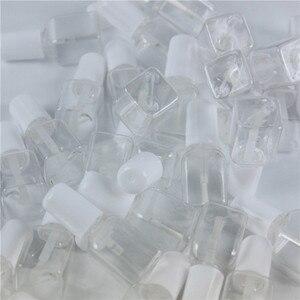 Image 5 - 10ピース/ロット5グラムミニかわいいクリアプラスチック空平方爪ポリッシュボトルで白キャップブラシプラスチックネイルボトル子供のため