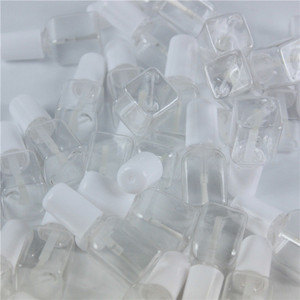 Image 5 - 10pcs/lot 5g Mini Cute Clear Plastic Empty Square Nail Polished Bottle With White Cap Brush Plastic Nail Bottle For Children
