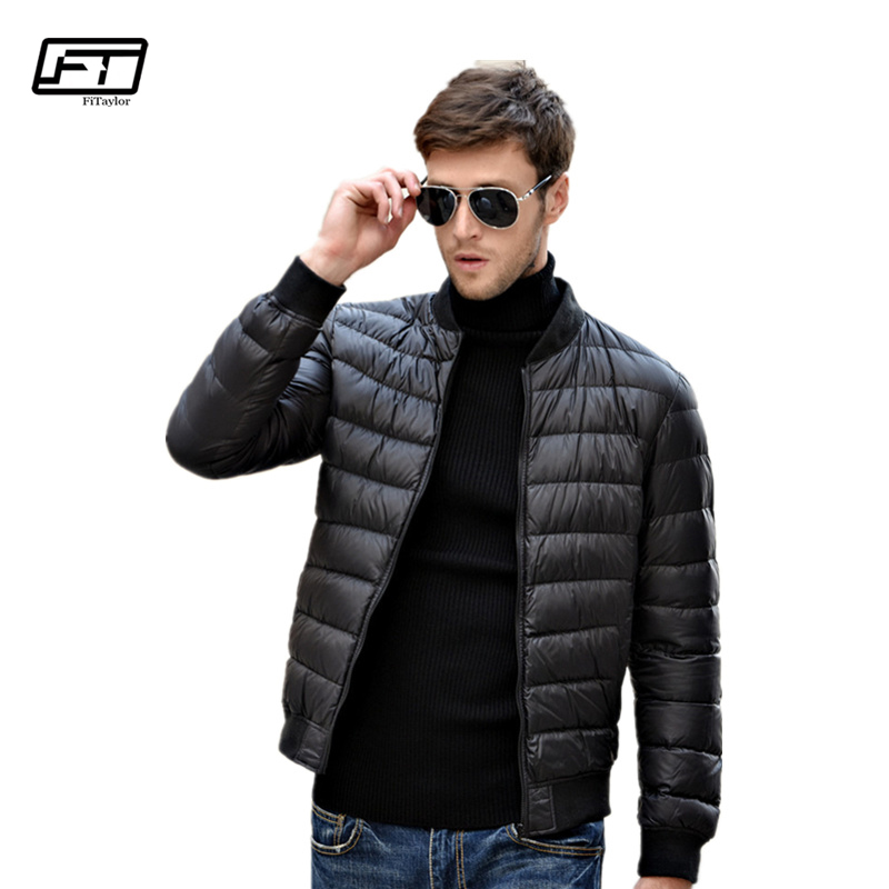 Fitaylor Winter Men Jacket 90% White Duck   Down   Ultra Light Thin Jackets O Neck Slim Warm   Coat   Basic Outwear Windproof Parkas