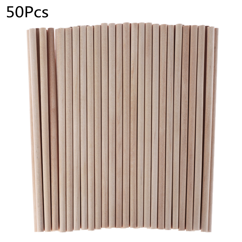 Sticks Dowel Wooden-Rods Building-Model Diy Crafts Woodworking Pine Round Durable 50pcs title=