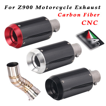 Full System For Kawasaki Z900 2017 2018 Motorcycle Exhaust Pipe Modified Carbon Fiber With Middle Connection Link Pipe Slip On
