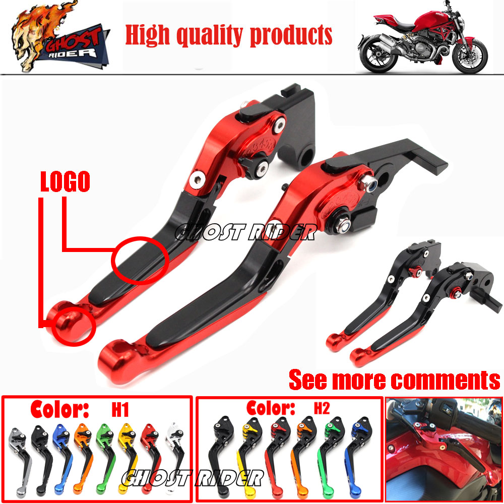 ФОТО For DUCATI DIAVEL / CARBON MULTISTRADA 1200/S Motorcycle Accessories CNC Aluminum Folding Extendable Brake Clutch Levers RED