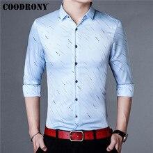 COODRONY Men Shirt Autumn Business Casual Shirts Long Sleeve Cotton Shirt Men Clothing Streetwear Striped Camisa Masculina 96014