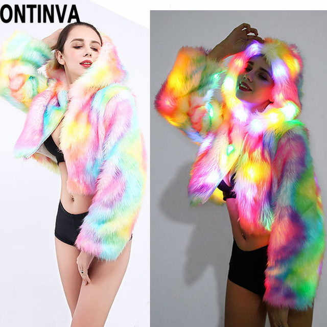 Faux Fur Hooded Coat Jacket Rainbow LED Lights Long Sleeve 2018 Autumn Winter Plus Size 4XL XL Halloween Christmas Party Costume