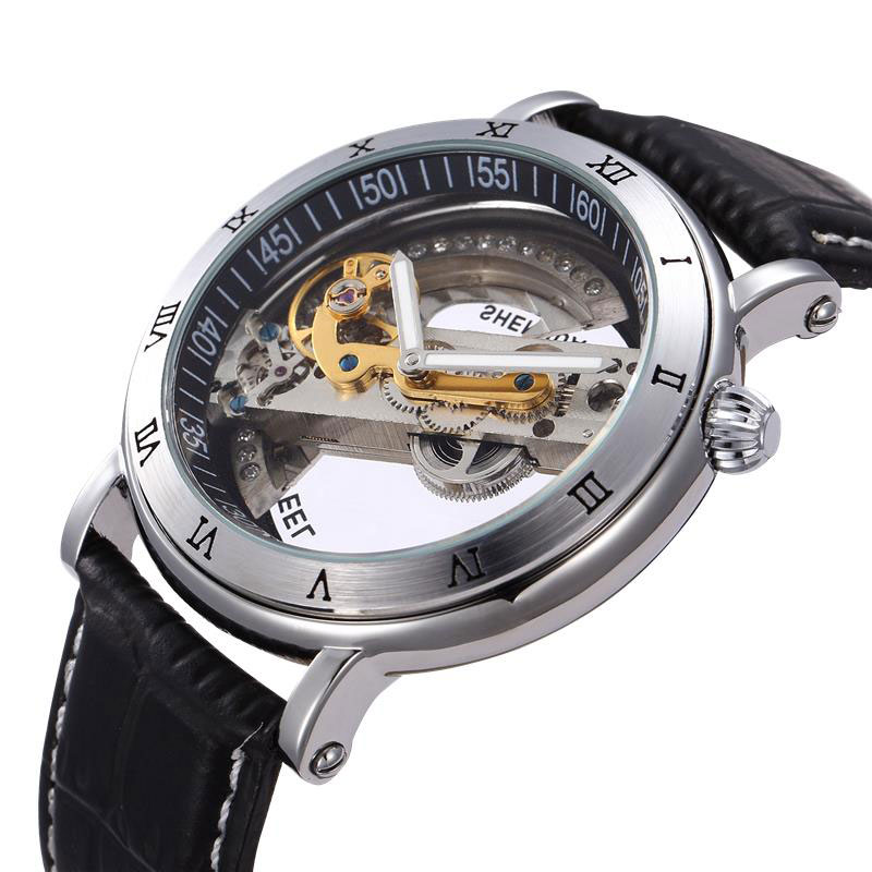 transparent wind skeleton stainless steampunk men mechanical luxury steel watch silver product automatic self black mens leather watches