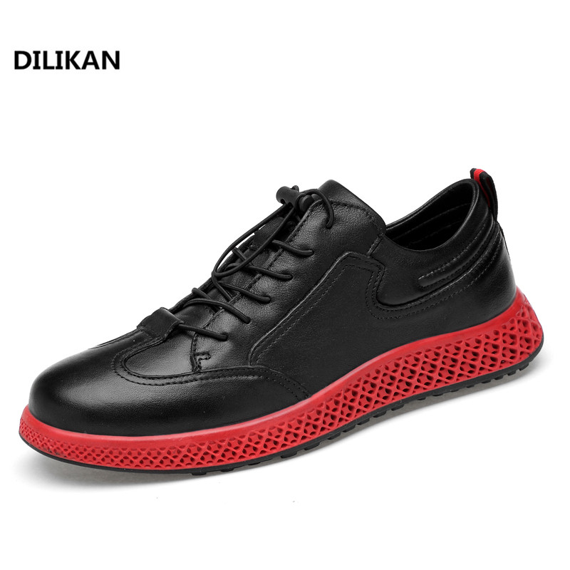DILIKAN Brand Hot 2018 New Spring Autumn Lightweight Breathable Casual Style Leather Men Shoes Fashion Lace-up Soft Sole Shoes vixleo men shoes new spring and autumn casual fashion safety oxfords breathable flat footwear pu leather waterproof shoes men