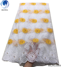 BEAUTIFICAL Tender yellow mesh fabric hot african beads lace fabrics new arrival nigerian high quality ML2N150