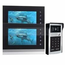 DIYSECUR 7 inch Touch Button Video Door Phone Intercom Doorbell IR Night Vision HD 300000 Pixels Camera 1V2